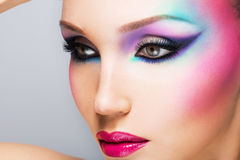 Beautiful woman with fashion bright makeup Royalty Free Stock Photography