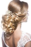 Beautiful  woman in image of the bride. Beauty hair. Hairstyle back view Stock Images
