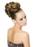Beautiful woman with modern hairstyle Royalty Free Stock Images