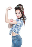 Beautiful woman in retro pinup style with powerful gesture We Ca Stock Photography