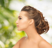 Beautiful woman with updo Stock Photography