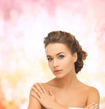 Beautiful woman with updo Stock Image