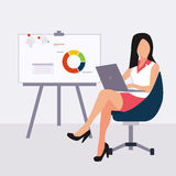Beautiful young business woman presenting with a Stock Images