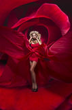 Beautiful young lady in red dress stands on flower rose Royalty Free Stock Photos