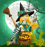 Beautiful young witch with a book and broom Stock Photo