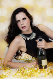 Beautiful young woman partying with champagne Royalty Free Stock Image