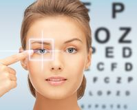 Beautiful young woman pointing finger to her eye Royalty Free Stock Photos