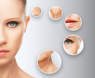 Beauty concept skin aging. anti-aging procedures, rejuvenation, lifting, tightening of facial skin Royalty Free Stock Photos