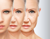 Beauty concept skin aging. anti-aging procedures, rejuvenation, lifting, tightening of facial skin Stock Photos