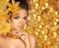 Beauty Makeup, luxury jewelry. Fashion glamour girl model portra Royalty Free Stock Image