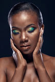 Beauty portrait of handsome ethnic african girl with closed eyes Stock Photos