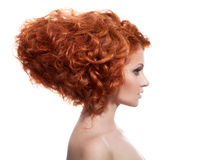 Beauty Portrait. Updo Hairstyle isolated on white Stock Image