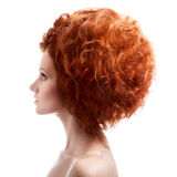 Beauty Portrait. Updo Hairstyle On White Background Stock Photos