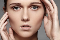 Beauty, skincare & natural make-up. Woman model face with pure skin, clean visage Royalty Free Stock Image