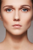 Beauty, skincare & natural make-up. Woman model face with pure skin, clean visage Stock Photography