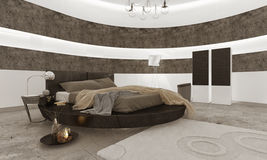 Bedroom interior with black king-size bed Stock Photo