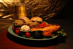 Beer and appetizer platter Royalty Free Stock Photo