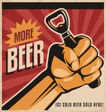 Beer retro poster design with revolution fist Stock Photo