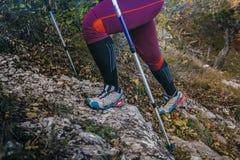 Beine und Spazierstöcke Stockfoto