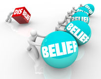Belief Vs Disbelief Doubter Loses to People with Faith Success C Royalty Free Stock Photo