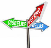 Belief Vs Disbelief Open Mind Faith Three Way Street Road Signs Stock Images