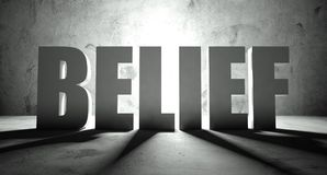 Belief word with shadow, background Royalty Free Stock Images