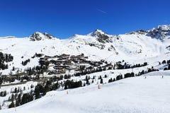Belle Plagne, Winter landscape in the ski resort of La Plagne, France Royalty Free Stock Images