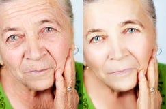 Belleza y concepto del skincare - ningunas arrugas del envejecimiento Fotos de archivo