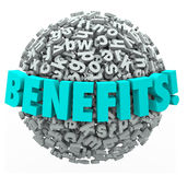 Benefits Rewards Compensation Word 3d Letters Ball Sphere Royalty Free Stock Photo