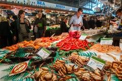 Berühmter La Boqueria-Markt mit Meeresfrüchten in Barcelona Lizenzfreies Stockbild