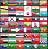 Beståndsdelar av designsymbolsflaggor av länderna av Asien Royaltyfri Bild