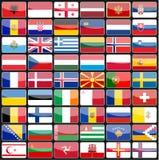 Beståndsdelar av designsymbolsflaggor av länderna av Europa Arkivfoto