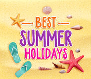 Best Summer Holidays Colorful Title Words in the Beach Yellow Sand Royalty Free Stock Photography