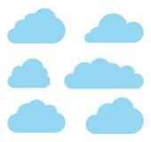 Wolkenvektorsammlung. Rechnensatz der Wolke. Stockfotografie