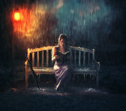 Bible reading during storm. Royalty Free Stock Images