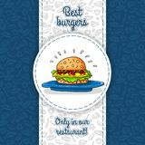 Big hamburger with cheese, sauce, two burgers, lettuce, lying on big blue plate. Vector work for flyers, menus, packaging. Royalty Free Stock Photo