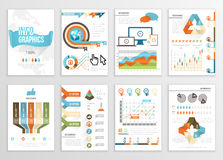 Big Set of Infographics Elements Business Illustrations, Flyer, Presentation. Modern Info Graphics and Social Media Marketing. Royalty Free Stock Photos