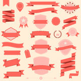Big set retro design ribbons and badge Vector design elements Royalty Free Stock Photos