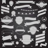 Big set retro design ribbons and badge Vector design elements Royalty Free Stock Photography