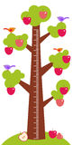 Big tree with green leaves birds and red apples on white background Children height meter wall sticker, kids measure. Vector Royalty Free Stock Photos