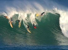 Big Wave Surfing in Hawaii Stock Photography