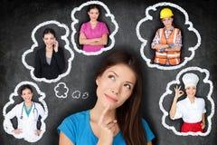Bildung und Karriere - Student, der an Zukunft denkt Stockbild