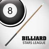 Billiard play design Royalty Free Stock Image