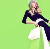 Bio shopping  fashion girl Royalty Free Stock Photos