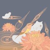 Bird bee-eater chrysanthemum cat Stock Images