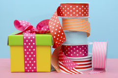 Birthday or special occasion gift wrapping. Royalty Free Stock Photos
