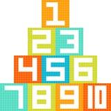 8-Bit Pixel-Art Number 1-10 Blocks Arranged in a Pyramid Royalty Free Stock Image