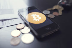 Bitcointechnologie met muntstukken Royalty-vrije Stock Foto