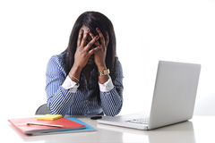 Black African American ethnicity stressed woman suffering depression at work Stock Images