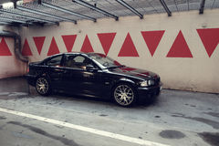 Black car in the garage, BMW E46 Coupe Royalty Free Stock Photos